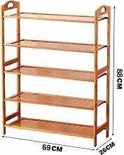 5 Fußböden Schuh-Rack Massivholz Einfache Lagerung Schrank Möbel Bambus Organizer Regale ( größe : 69cm )