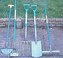 5 Gartenwerkzeuge im Set, Spaten, Gabel, Harke,