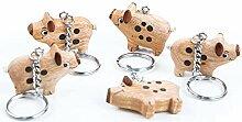 5 Glücksschweinchen Schlüssel-Anhänger HOLZ