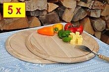 5 Grill Pizzabrett-RUND, Zwiebelkuchen und Döner-Servierbrett, Holzbrett rund, PREMIUM-QUALITÄT, groß Holz,mit umlaufender Rille - Ölrille / Saftrille -, 4 x je ca. 28 cm, 1 x ca. 25 cm Durchmesser, als Bruschetta-Pita-Döner-Naan-Roti-Ciabatta-Langos-Chubz-Servierbretter, Grill-Schneidebrett Grill-Schneidebrettchen, Grillbrettchen,Anrichtebretter, Brotzeitbretter, Steakteller schinkenbrett rustikal, Schinkenteller von BTV