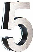 5 Hausnummer LED 3D Edelstahl V2A Höhe 20cm