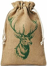 5 Jutebeutel, Jutesäckchen mit Baumwollkordel und