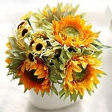 5 Köpfe gelber Sonnenblume Seide Künstliche