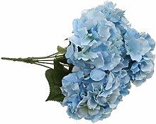 5-Köpfe Kunstseide Blume Hortensie Pflanze Hochzeit Haus Wohnzimmer Vase Dekor - Blau, 7cm