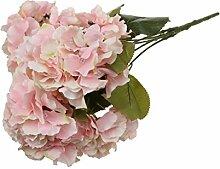 5-Köpfe Kunstseide Blume Hortensie Pflanze Hochzeit Haus Wohnzimmer Vase Dekor - Rosa, 7cm