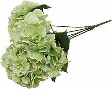 5-Köpfe Kunstseide Blume Hortensie Pflanze Hochzeit Haus Wohnzimmer Vase Dekor - Grün, 7cm