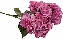5-Köpfe Kunstseide Blume Hortensie Pflanze Hochzeit Haus Wohnzimmer Vase Dekor - Rose Rot, 7cm