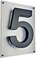 5 LED-Hausnummer 3D anthrazit grau RAL7016