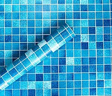 5m blau Mosaik Karierter Sticky Back Kunststoff