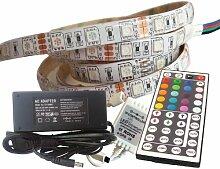 5 Meter Set: hochwertige RGB LED Strip Band Streifen Leiste mit 300 LED (5m, IP65, 60LED/m) mit Controller, 44 Tasten Fernbedienung u. 6A Netzteil