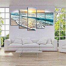 5 Panels Sunset Beach Wandkunst Leinwand Sea Wave