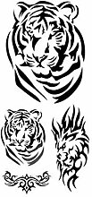 5 Pcs 3D Tiger Abzeichen Wasserdicht Tattoo-Muster