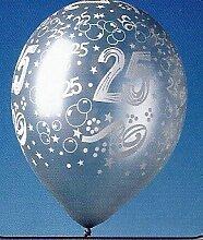 5 silberfarbende Luftballons Zahl 25 silberne Hochzeit Ballons Silberhochzeit Partydeko