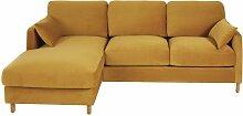 5-Sitzer-Ecksofa mit Ecke links und senfgelbem