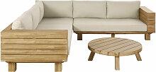 5-Sitzer-Gartensitzgruppe aus beigem Stoff und