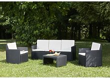 5-Sitzer Lounge-Set Abibat aus Rattan mit Polster