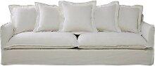 5-Sitzer-Sofa aus Leinen, weiß Barcelone
