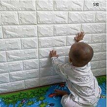 5 Stück 3D Ziegelstein Tapete, YTAT Wandpaneele Steinoptik, Wandpaneele Selbstklebend für Schlafzimmer Wohnzimmer moderne tv schlafzimmer wohnzimmer dekor, 60 * 60cm, weiß(5)