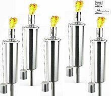 5 Stück Edelstahl Gartenfackel Fackel Öllampe