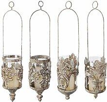 5 Stück Esschert Design Hängelaterne, Hänge-Windlicht im Antik-Design, sortiert, ca. 11 cm x 11 cm x 43 cm
