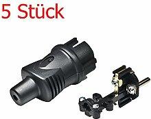 5 Stück Gummi-Schuko-Stecker, Schukostecker 220V, IP44 schwarz