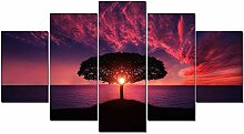 5 Stück HD Rise Tree Red Sunset by Sea Landschaft