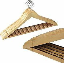 5 Stück Holz Kleiderbügel mit gezackter antirutsch Leiste Holzbügel Garderobenbügel mit Hosensteg Hosenstange Hosenbügel Rockkerben drehbarer Haken