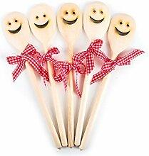 5 Stück Holz Kochlöffel LACHENDES GESICHT SMILIE
