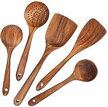 5 Stück Holzlöffel, Holzlöffel Kochen Reusable