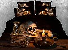5 Stück King size 3D-Bettdecke Bettwäsche coole Totenkopf Bettdecke + Tröster Füller + flache Blatt + Kissenbezüge twin Full