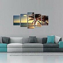 5 Stück Leinwand Fotodrucke Meer Sonnenuntergang