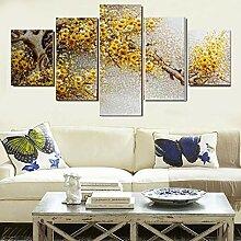 5 Stück Leinwand Kunst Gelbe Blumen Wand Bild