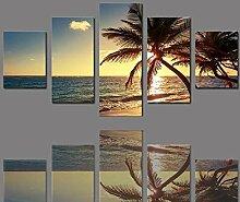 5 Stück rahmenlose Leinwand Fotodrucke Meer