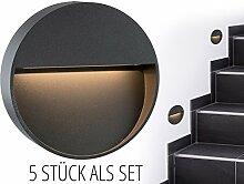 5 Stück Runde LED Wand-Leuchte & Treppen-Licht MORAVA für den Wandaufbau (Aufputz) IP54 innen & außen verwendbar mit 2W in warm-weiß