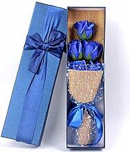 5 Stück Seife Rose Blumenstrauß mit Geschenkbox,