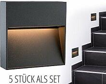 5 Stück SSC-LUXon® LED Wand-leuchte KEILA anthrazit eckig - Wand & Treppen-leuchte IP54 für innen und außen, 2W warm-weiß 2700K
