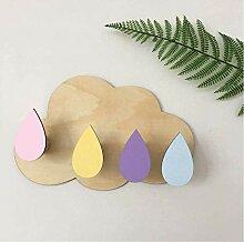 5 Stück Wolken Wandhaken Holz Selbstklebender