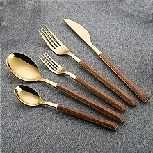 5 stücke Holz Gold Geschirr Set Edelstahl