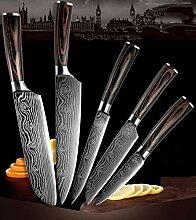 5 stücke Set Küchenmesser Damaskus Edelstahl