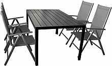 5-teilige Gartengarnitur Gartenmöbel Terrassenmöbel Set Sitzgruppe Aluminium Gartentisch Polywood 150x90cm + 4x Hochlehner 2x2 Textilen