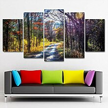 5-Teilige Printed Canvas Panel Wandkunst Farbe