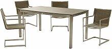 5-Teilige Tisch Sitz Gruppe Grau Außen Garten