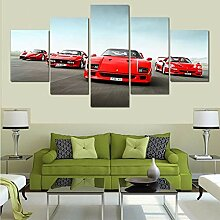5-teilige Wandmalerei Leinwand Autowand Bilder
