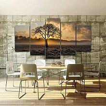 5-teilige Wüste Sonnenuntergang und Bäume