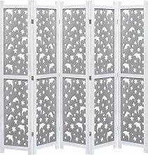 5-teiliger Raumteiler Grau 175 x 165 cm Massivholz