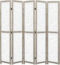 5-teiliger Raumteiler Weiß 175 x 165 cm