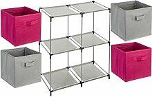 5-teiliges Kindermöbel-Set: 1 Fächerregal + 4 Schubladenkisten - Farbe FUCHSIA und GRAU