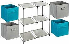 5-teiliges Kindermöbel-Set: 1 Fächerregal + 4 Schubladenkisten - Farbe TÜRKISBLAU und GRAU