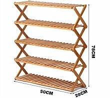 5 Tier Schuh Rack Massivholz Einfache Lagerung Schrank Möbel Bambus Organizer Regale Faltbar ( größe : 50 cm )