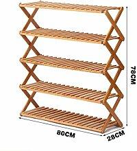 5 Tier Schuh Rack Massivholz Einfache Lagerung Schrank Möbel Bambus Organizer Regale Faltbar ( größe : 80cm )